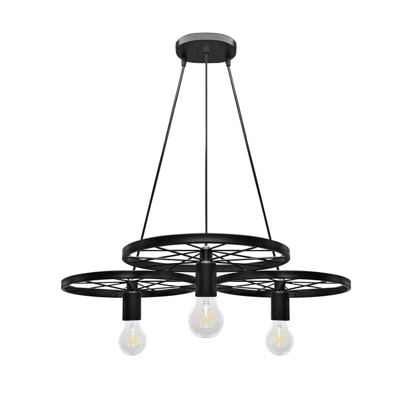 Pendant Light Industrial Rustic 3 Wheel 3 Light Metal