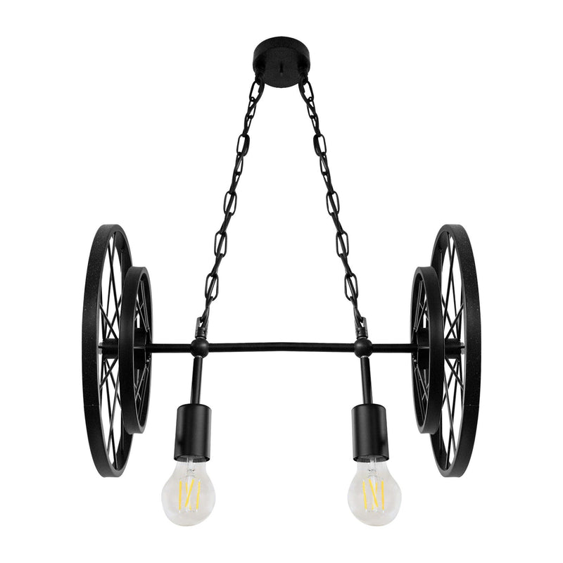 Pendant Light Industrial Rustic 4 Wheel 2 Light