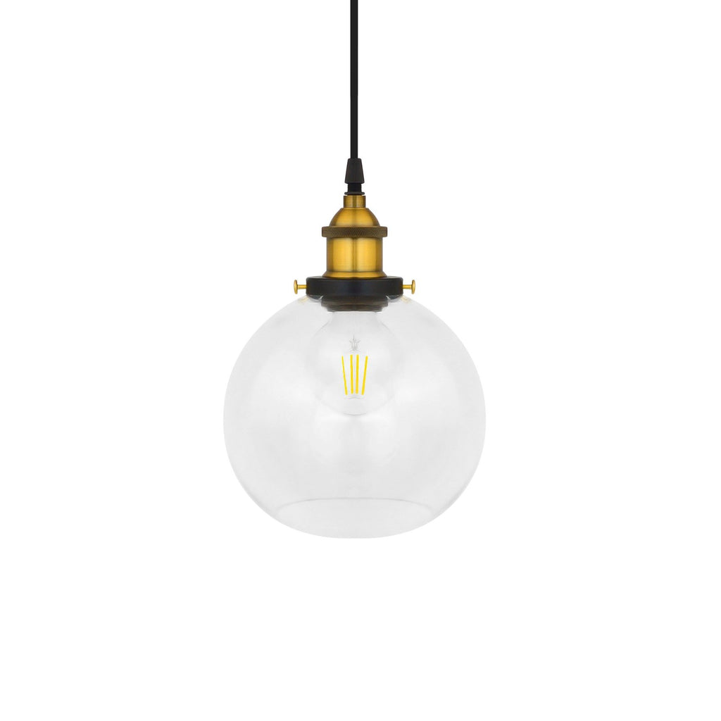 Pendant Light Industrial Clear Glass Globe