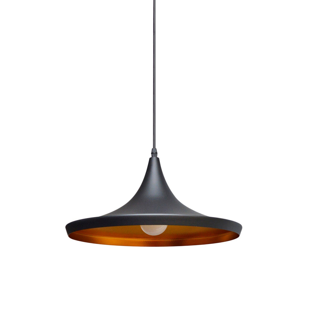 Pendant Light Industrial Black Inside Matte Gold