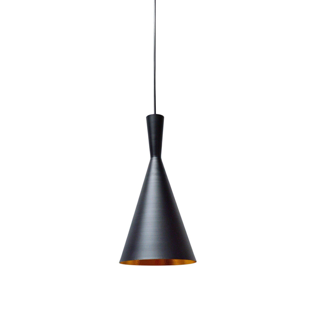 Pendant Light Industrial Black Triangle Inside Matte Gold