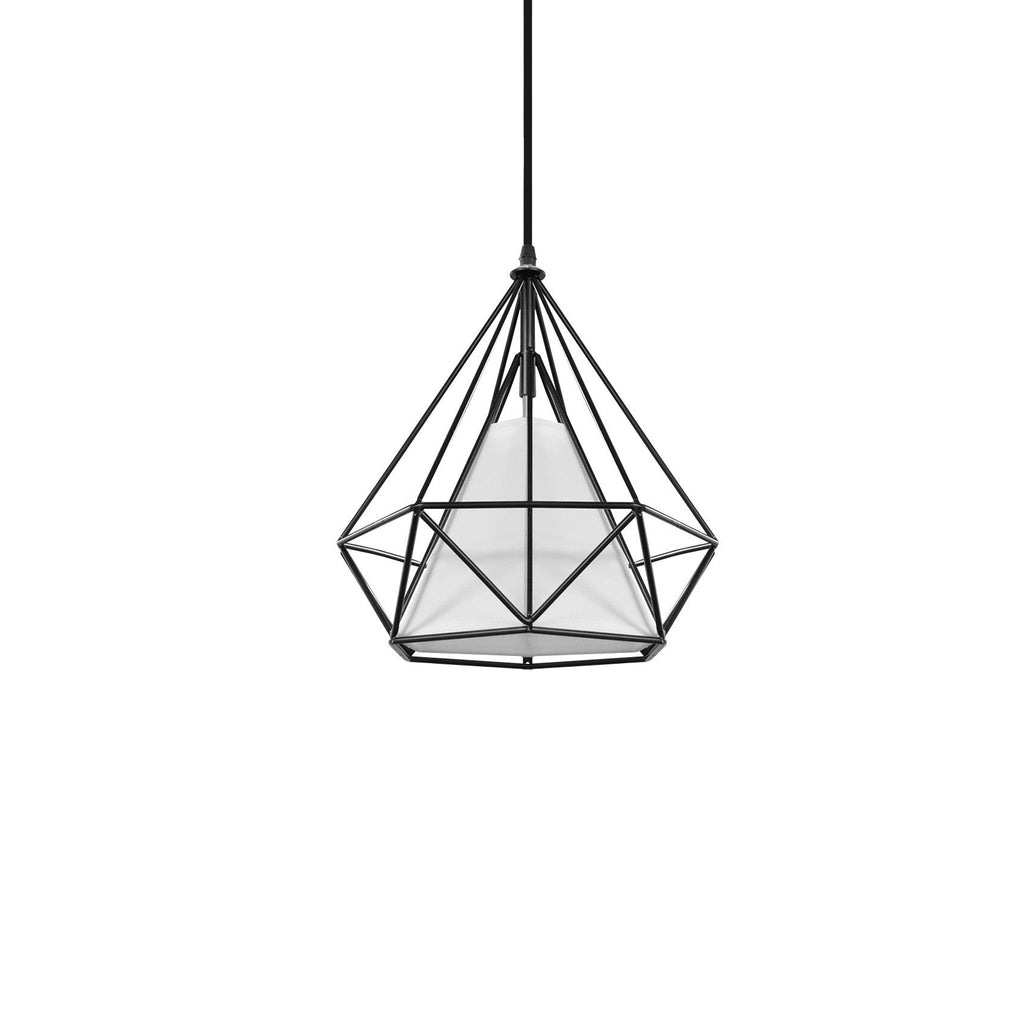 Pendant Light White Geometric Wire Frame With Shade