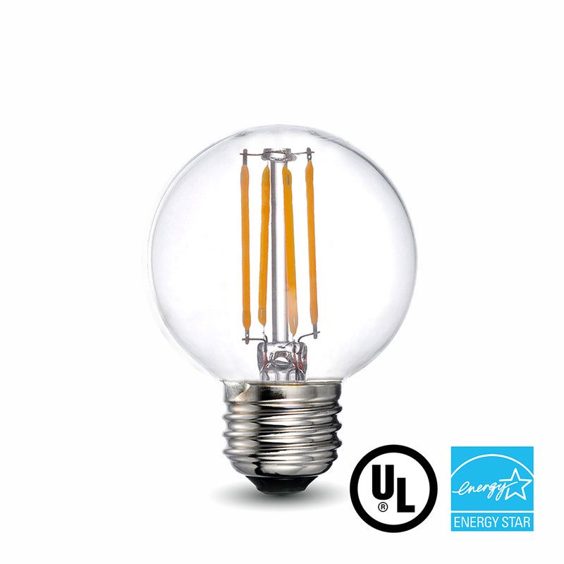 LED Filament Bulb - G16.5 - 60 Watt Equivalent - E26 - Dimmable