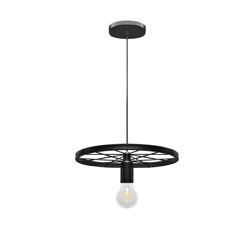Pendant Light Industrial Rustic Single Wheel Metal