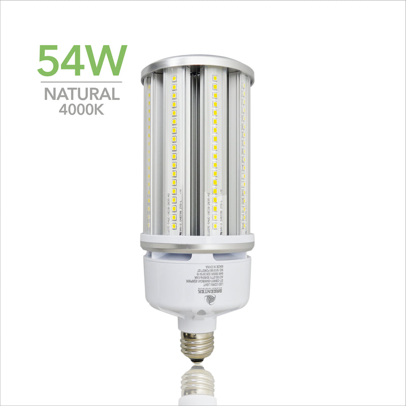 54W LED Corn Light Bulb - Replacement for Fixture 250W MH/ HPS/ HID - 5 Year Warranty - 4kV Surge Protection - (UL+DLC)