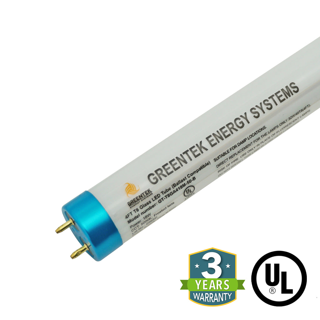 4ft 18W LED Linear Tube - Glass - Ballast Compatible Only - Plug N Play - Will ONLY Work With A Ballast - (UL Type A) *Buy By The Box Promo* - Green Light Depot