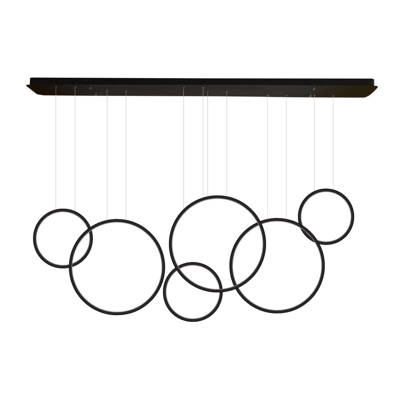 Modern Chandelier LED Light Linear Suspension 6 Ring