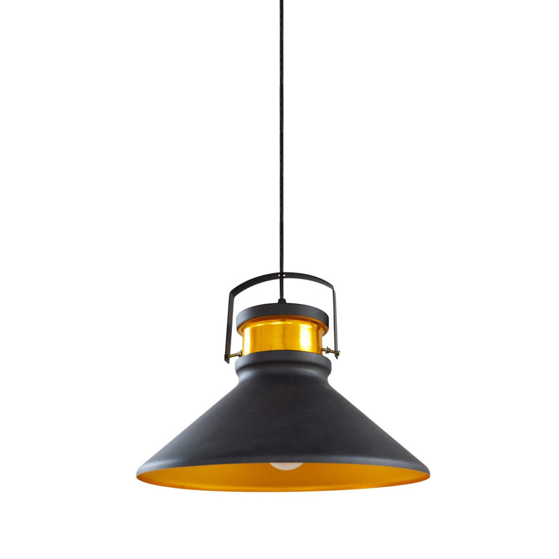 Pendant Light Industrial Matte Black Accent Gold
