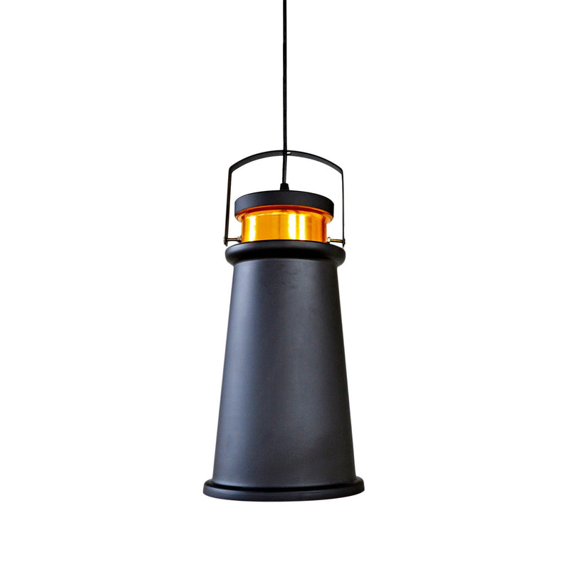 Pendant Light Industrial Matte Black Inside Gold