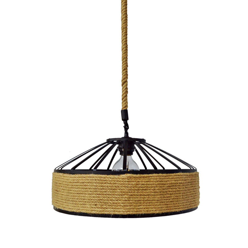Pendant Light Industrial Iron Frame Rope