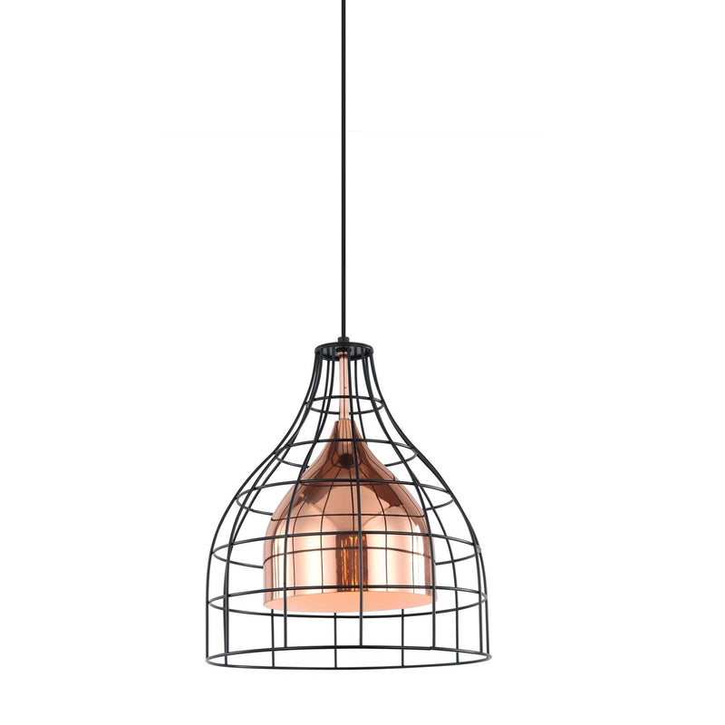 Pendant Light Industrial Caged Iron Rose Gold Copper