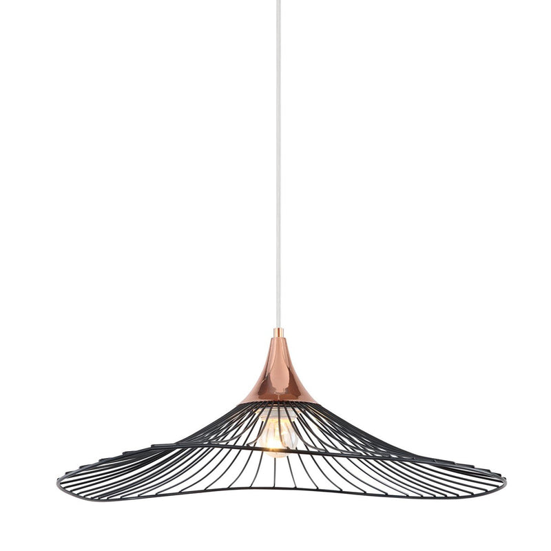 Pendant Light Wire Frame Industrial Rose Gold