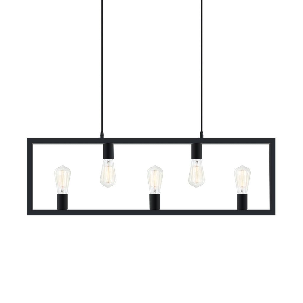 Island Pendant Light Industrial Rectangle 5 Light