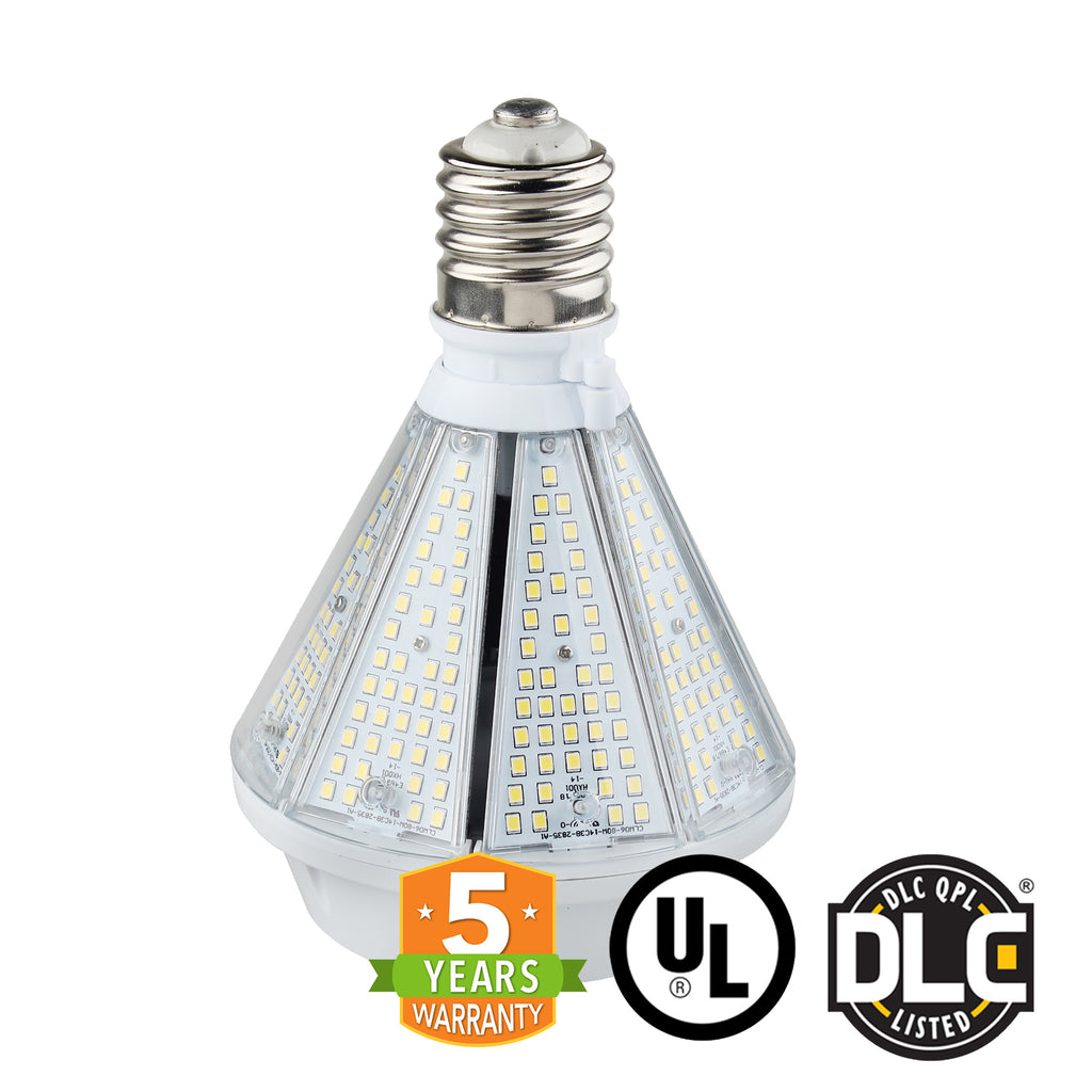 80W LED Corn Bulb Post Top - Bottom Socket - Mogul Base (E39) - (UL+DLC) - Green Light Depot