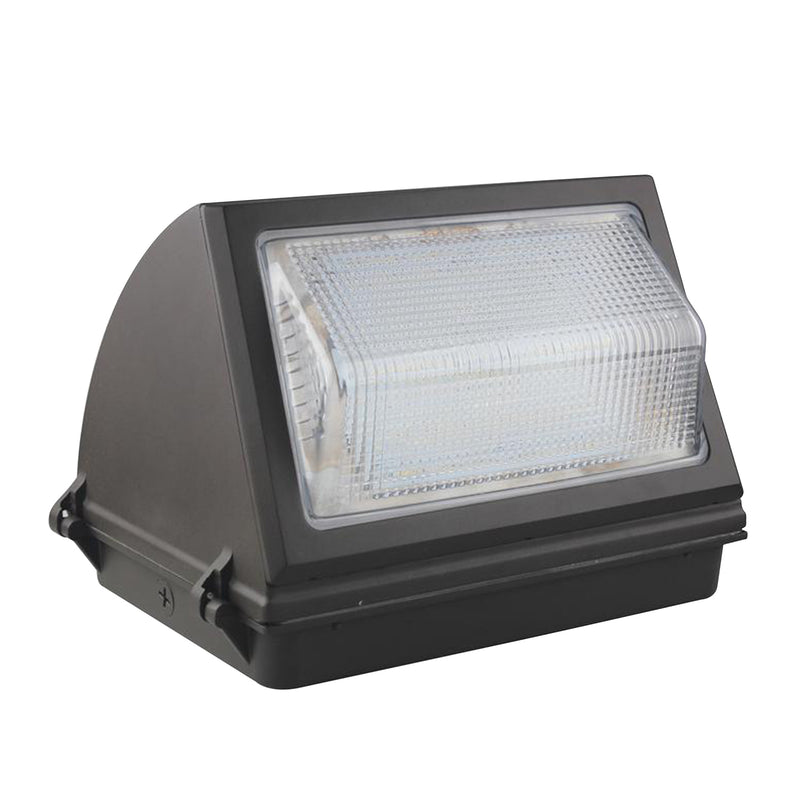 60W LED Wall Pack Light - Semi Cutoff - High Voltage -  Glass - Forward Throw - DLC Listed
