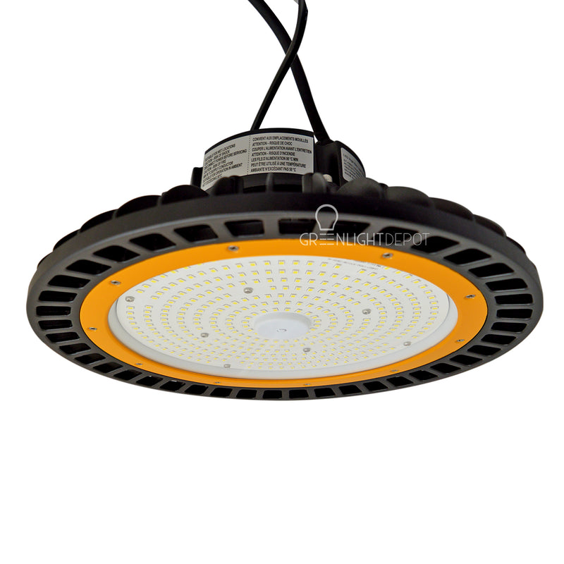 LED High Bay - 150W - 21,750 Lumens - 200V to 480V - Hook Mount - Tempered Glass - UFO Series - UL+DLC