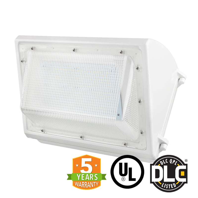 55W LED Wall Pack Light - Semi-Cutoff - Forward Throw - White - DLC Listed - Green Light Depot