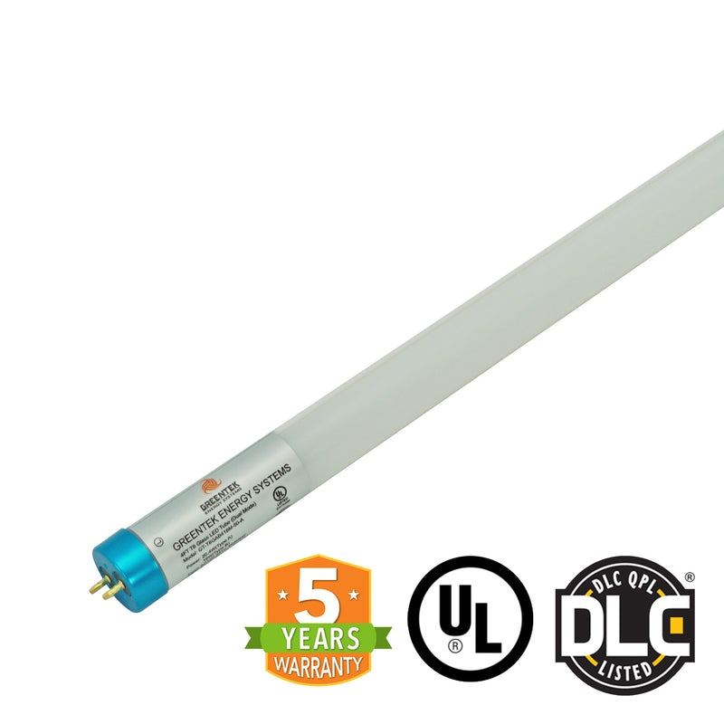 4ft 18W LED Linear Tube - Glass - Ballast Compatible & Single End Bypass - (UL+DLC)