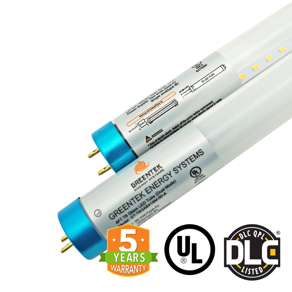 4ft 18W LED Linear Tube - Glass - Ballast Compatible & Single End Bypass - (UL+DLC) *Buy By The Box Promo*
