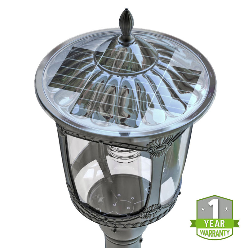 LED Solar Post Top - Decorative LED Street Light - 2000Lm - Solar Landscape Light - Green Light Depot