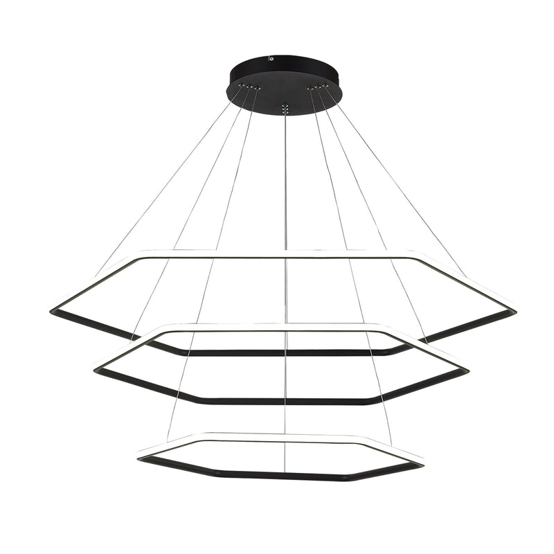 Modern Chandelier Light LED Hexagon 3 Tier Pendant