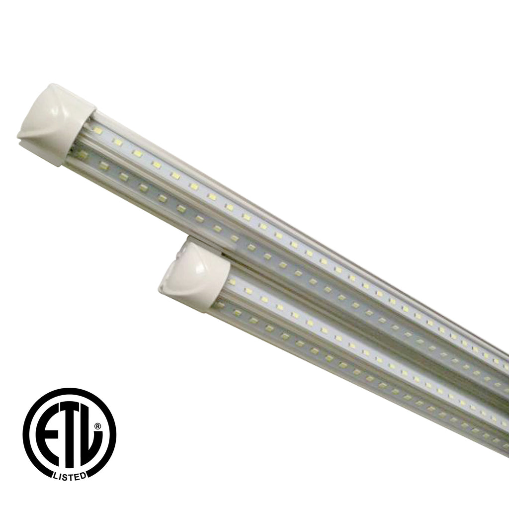 60W 8ft V-Shaped T8 Integrated LED Tube - Clear - 6000K