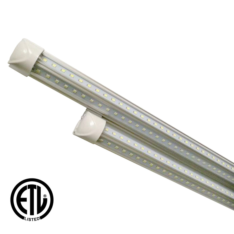 60W 8ft V-Shaped T8 Integrated LED Tube - Clear - 5700K - Green Light Depot