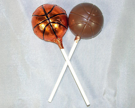 milk chocolate basketball lollipop