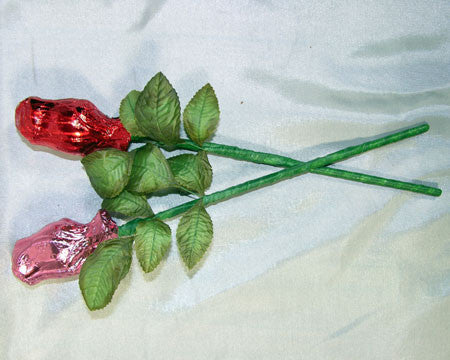 milk chocolate rose lollipop foiled