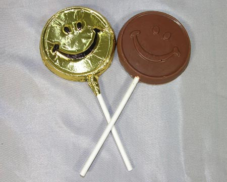 milk chocolate smile face lollipop