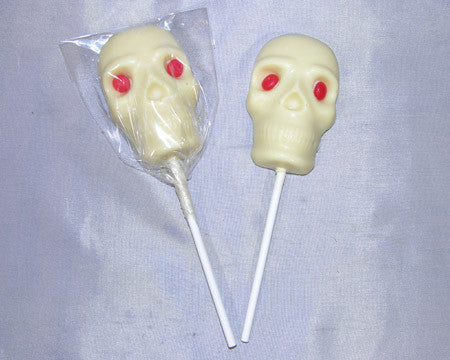 white chocolate skull lollipop