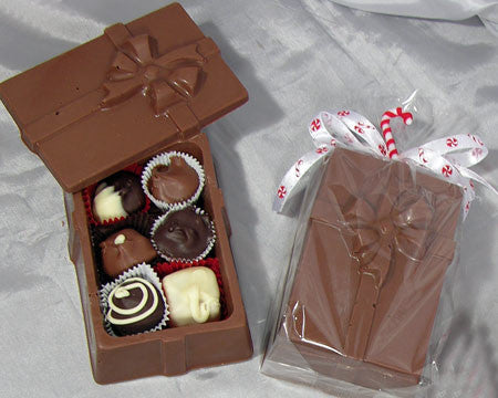 milk chocolate present box with assorted chocolates