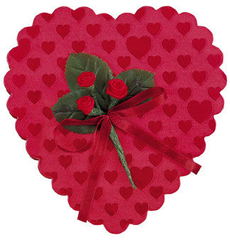 Heart box, red foil with roses, 4 ounces