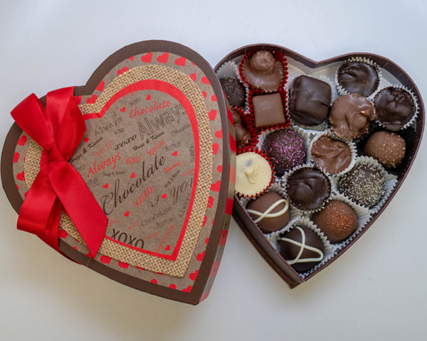 Heart shaped kraft box with chocolates