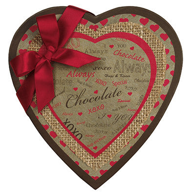 Heart box, Kraft with satin bow, 16 ounces