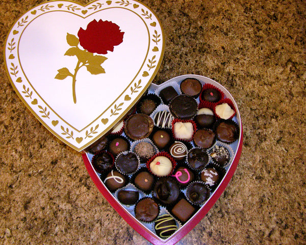 Heart box, white with red foil rose, 16 ounces of chocolate