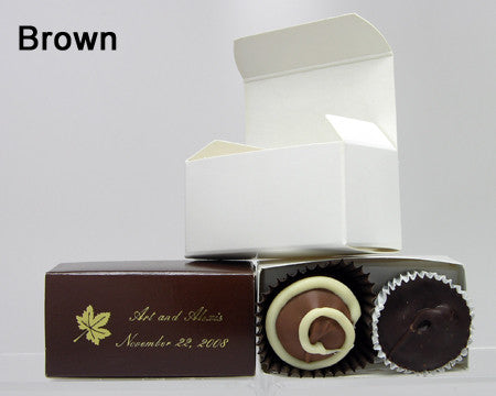 chocolate filled personalized brown favor box