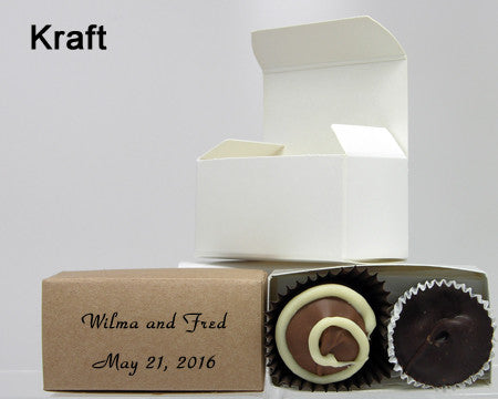 chocolate filled personalized kraft favor box