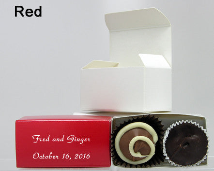 chocolate filled personalized red favor box