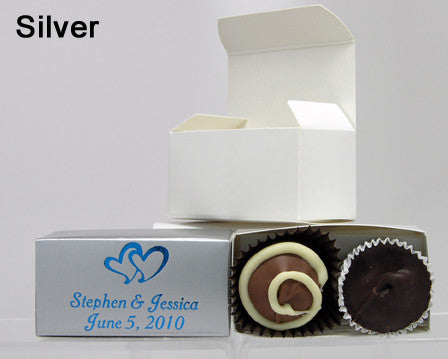 chocolate filled personalized silver favor box