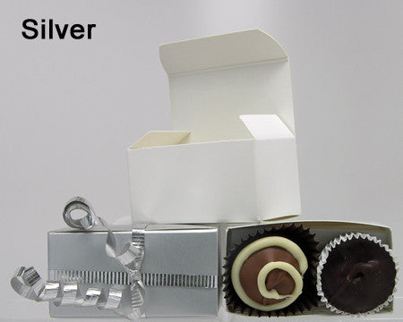 silver small plain favor box chocolate filled