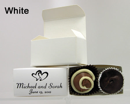 chocolate filled personalized white favor box