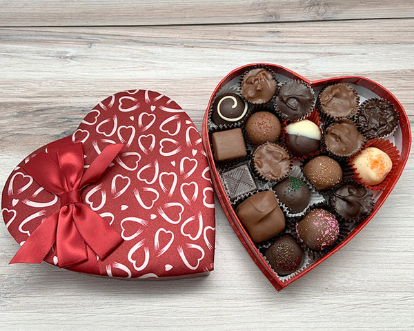 heart box filled with assorted chocolates