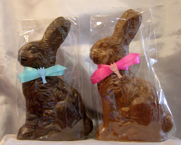 Solid Rabbit on a flower milk chocolate and dark chocolate