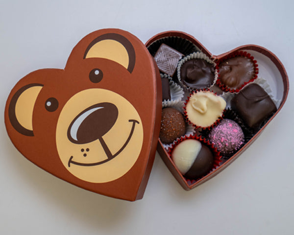 Heart shaped teddy bear box with chocolates