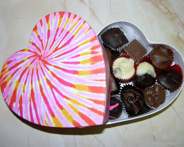 Heart box with chocolates, tie dyed