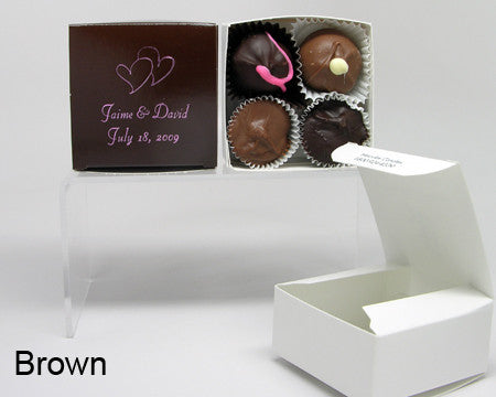 brown square personalized favor box with chocolates