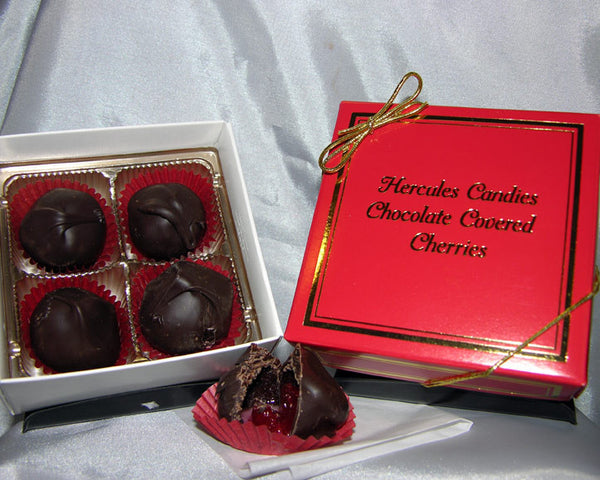 Chocolate covered cherries, 4 piece box