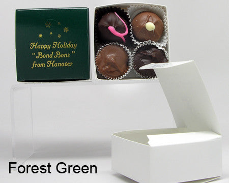 forest green square personalized favor box with chocolates