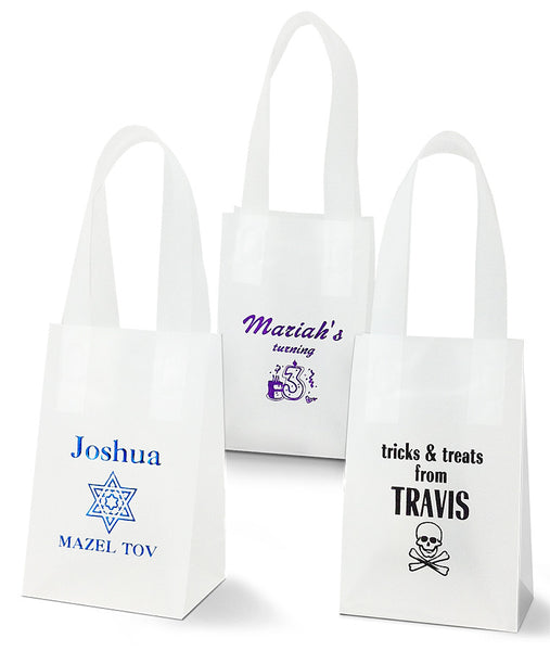 small personalized frosted tote bag